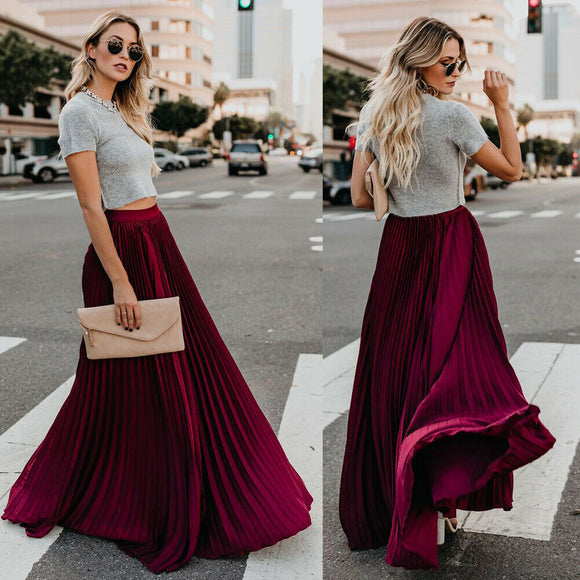 Chiffon Elegant Pleated Long Skirt