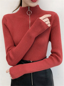 Turtleneck Zipper Up Solid Slim Knitting Sweaters