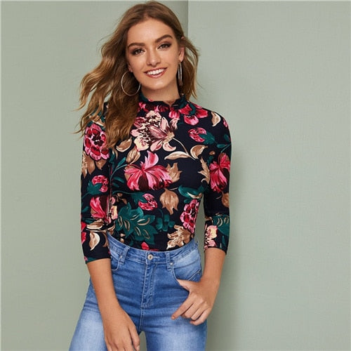 Mock-neck Floral Print Fitted Top