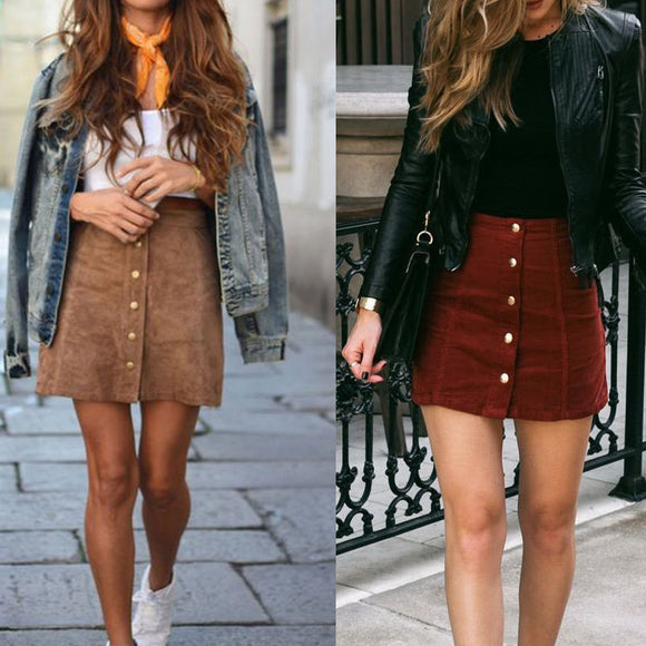 High Waist Bodycon Suede Short Skirts