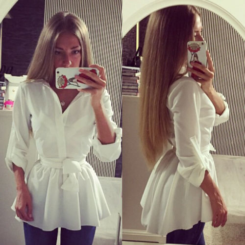 Brief Long Sleeve Button Down with Belt White Blouse