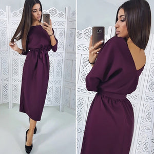 Casual Sashes O neck Straight Dress
