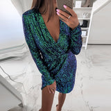 Deep V-Neck Tukshen Sequin Dress