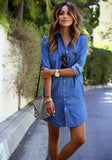 Long Sleeve Casual Denim Jeans Shirt Dress