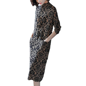 Elegant Pocket Long Sleeve Retro Printing Mid-calf Party Dress