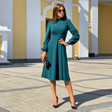 Women Casual Solid Stand Collar Dress