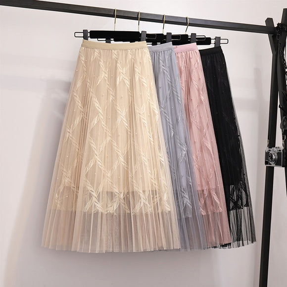 A Line Pearl High Waist long skirt