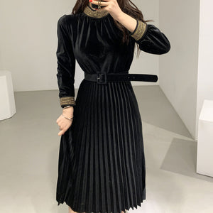 Velvet Pleated a Line Elegant Dress