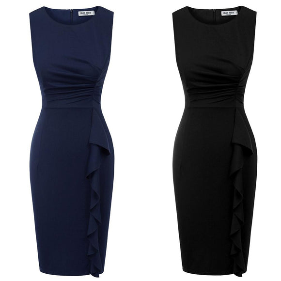 Sleevless Formal Pencil Dress Ladies Ruffle Dress