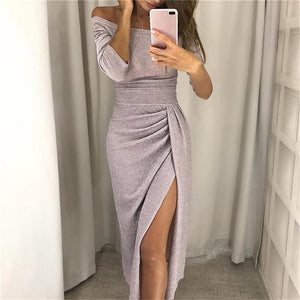 Off Shoulder High Slit Bright Silk Shiny Dress