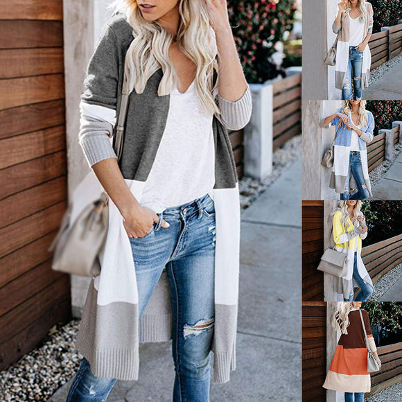 Sweater Striped Color Block Draped Loose Cardigan