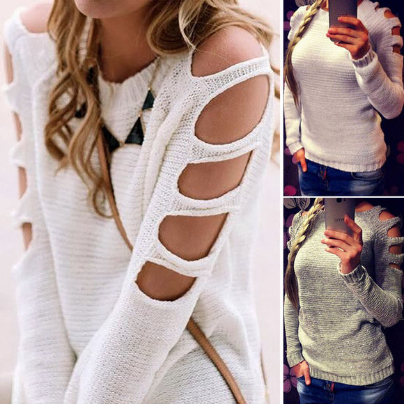 Tukshen Hollow Out Thin Knitted Sweater