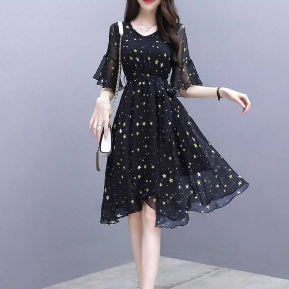 Women V-Neck Short Sleeve Star Print Dress Ladies Casual Vacation Beach Dresses