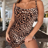 Sexy Party Backless Leopard Print Cami Sleeveless Nightgowns Skinny Club Dress Summer Night Out Women Girls Sleepwear Dress