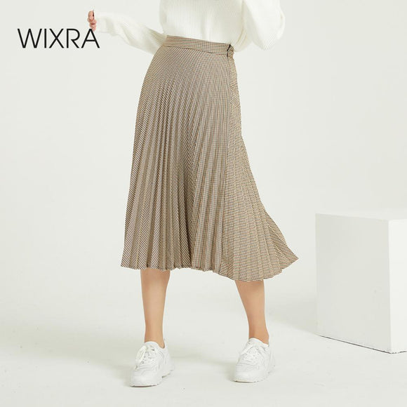 Wixra Vintage Plaid Pleated Skirts Elegant High Waist Stylish Zipper Skirt Streetwear Ladies Bottom Winter Spring