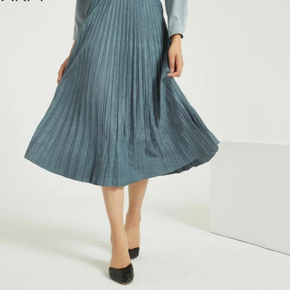 Suede Pleated Classical Midi Skirt