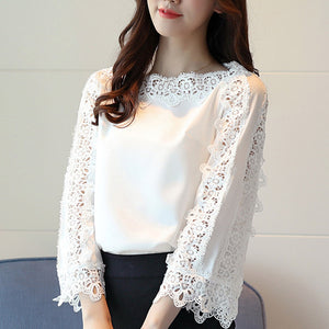 Spring Chiffon Shirt Lace Floral Patchwork Blouse