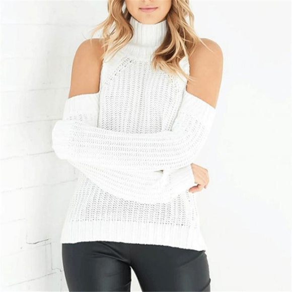 New Pure White Color Long Sleeves Cold Shoulder Sweater