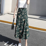 Woman Boho Flower Long Skirt