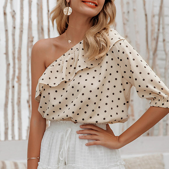 Skew Collar Ruffle Short Blouse