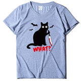 Bloody dagger cat Printed Casual T shirt