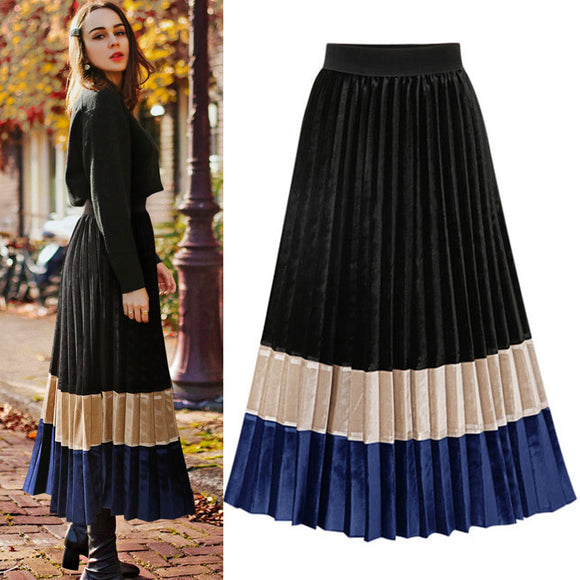 Pleated Skirt Velvet Vintage Skirt