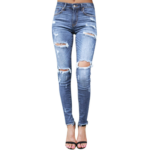 Skinny Ripped Jeans Mid Waist Denim Pant
