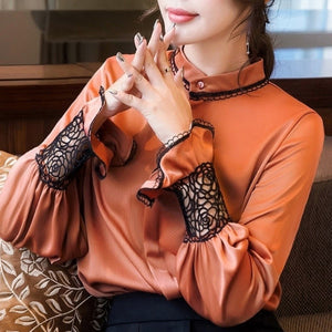 Ruffles sleeve slim Lace patchwork Blouse