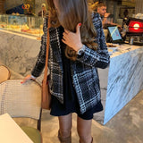 2020  Brief Solid Plaid Pocket Casual Coat