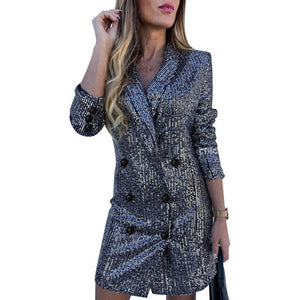 Elegant Long Sleeve Blazer Dress