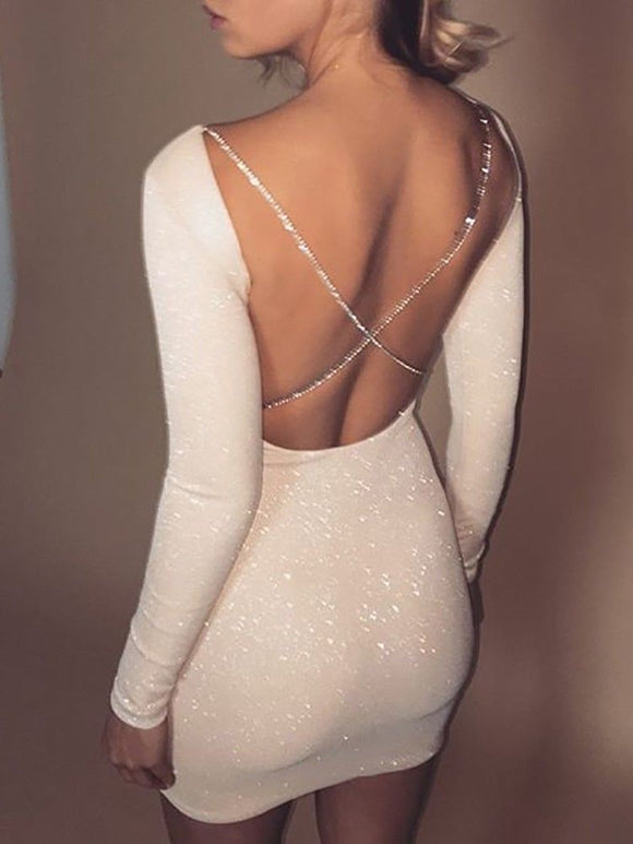 Backless  Bodycon Party Cocktail Slim Short Dress
