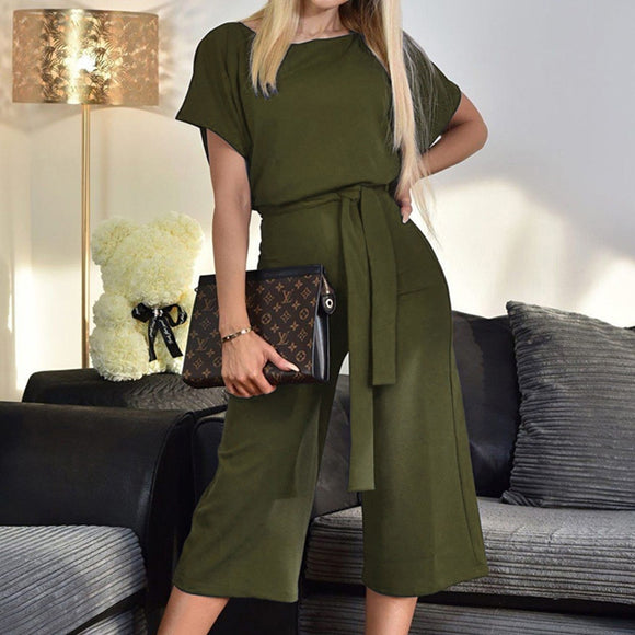 lace-up button skirts short-sleeved jumpsuit