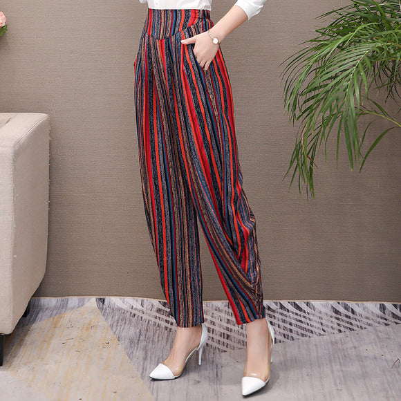Vintage Striped Print High Waist Pants