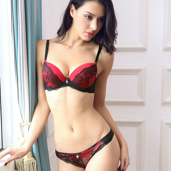 French Classic Style Floral Embroidery Push Up Bra Set