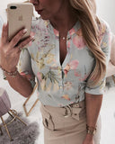 Floral Loose 3/4 Sleeves Blouse