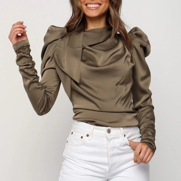Solid Stack Dramatic Sleeve Blouse