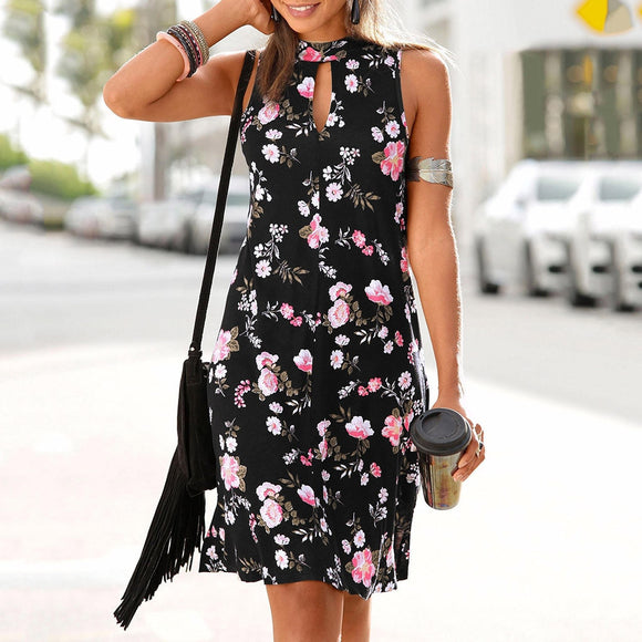 Casual Bohemian Floral Printed Sleeveless Dress