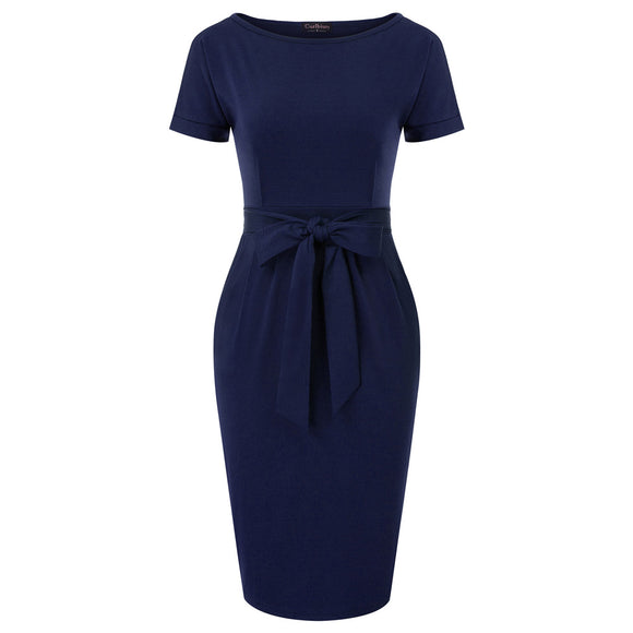 Elegant Pocket with Belt Pencil Dress
