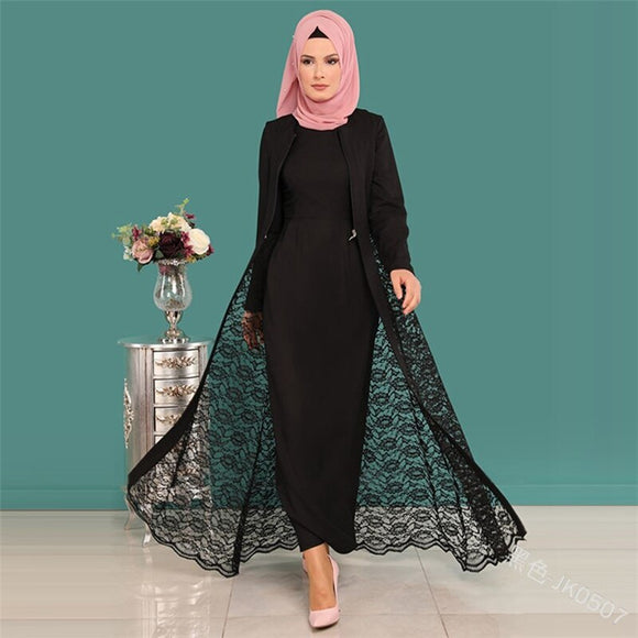 Abaya Style 2pcs Lace Full Sleeve Elegant O Neck Lady Covered Dress