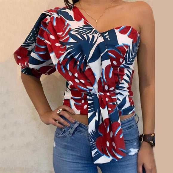 One-Shoulder Floral Print Casual Blouse