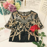 Tukshen High Embroidered Party Blouse