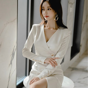 White Bodycon Pencil Office blazer Dress