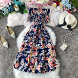 Boho- vintage floral print  Off Shoulder dress