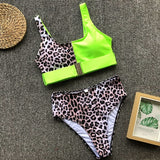 Vintage Push Up Leopard Print Patchwork Bikinis Set