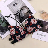 Floral Print Front Buckle Push-up Bra