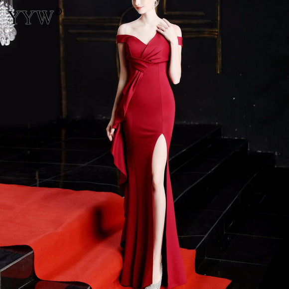 Tukshen Off Shoulder Sexy Gown