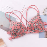 Front Buckle Flower Printed Seamless Bras