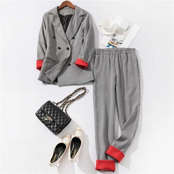 Tukshen-Double Breasted Plaid Blazer Suit pant Sets