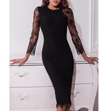 Tukshen Black Lace Dress