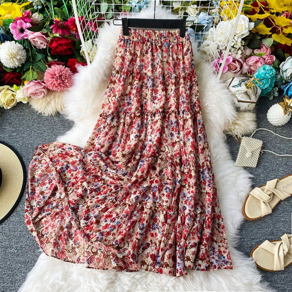 2020 new fashion floral  Print skirt